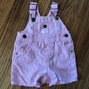 Overalls for baby girls pink and white striped